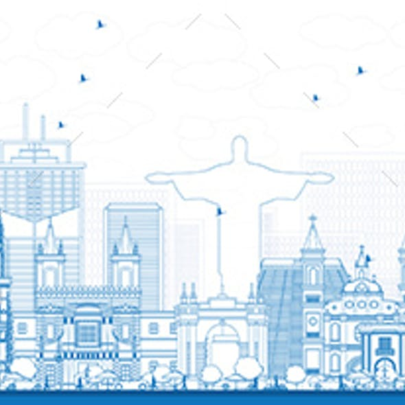 Outline South America Skyline with Famous Landmarks.