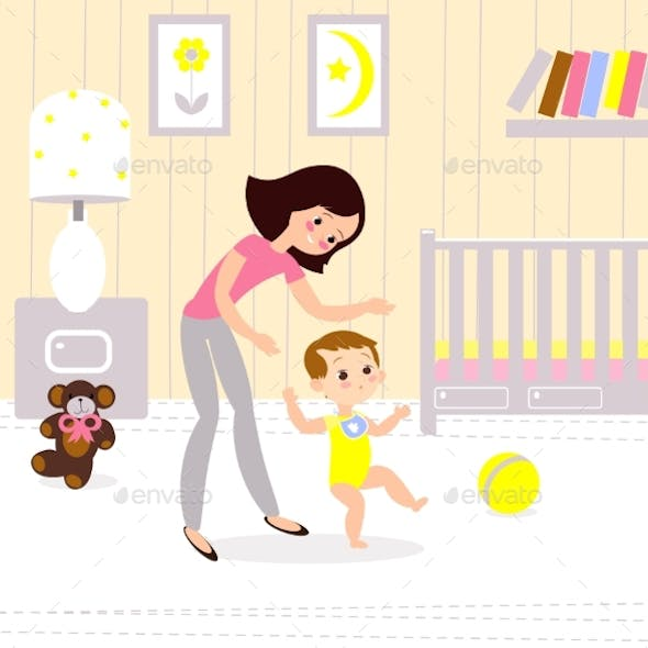 Mom and Baby in the Childrens Room