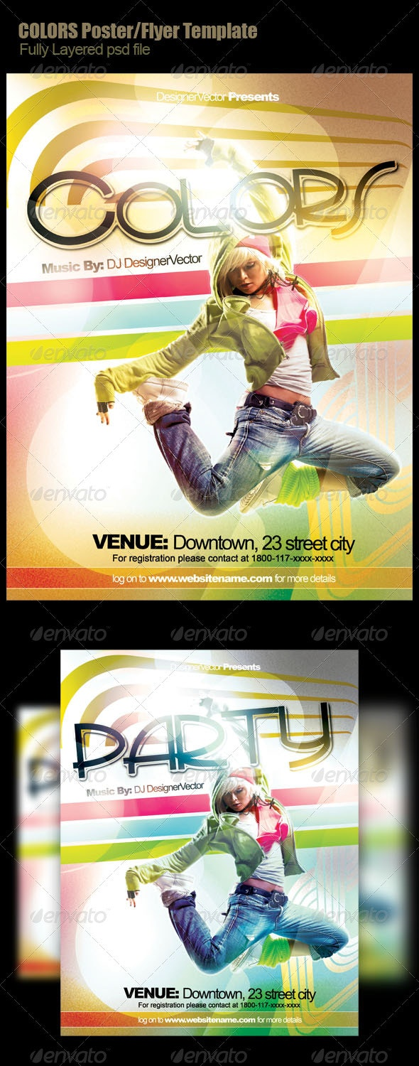 Color Flyer/Poster template - Clubs & Parties Events