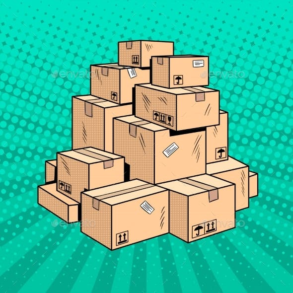 Boxes with Goods Pop Art Vector Illustration