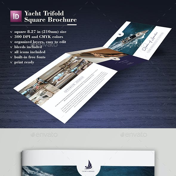 Yacht Trifold Square Brochure