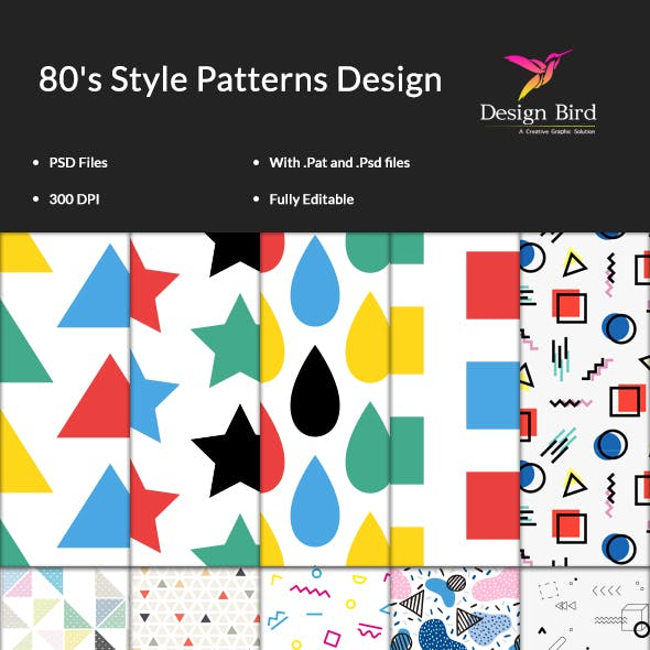 15  80's Style Patterns Kit for Photoshop