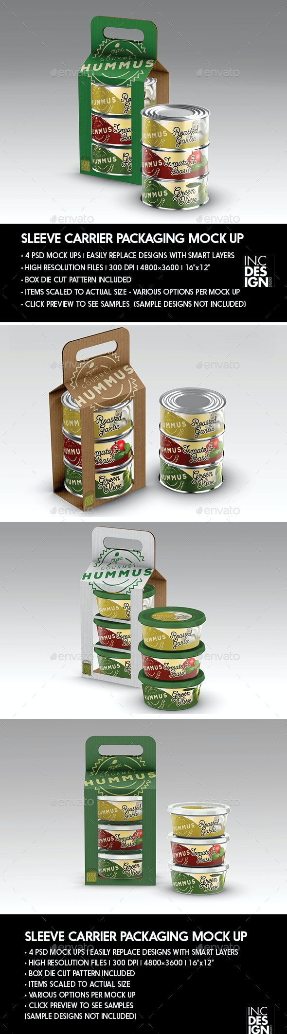 Packaging Mock Up Sleeve Carrier for Cans or Tubs - Product Mock-Ups Graphics