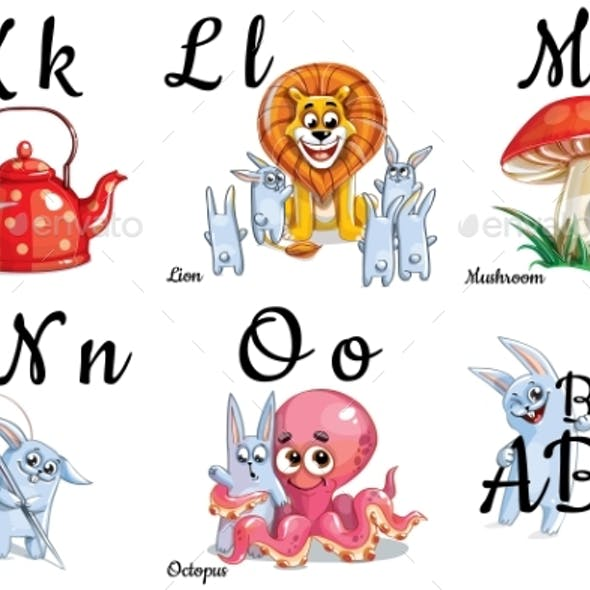 Vector Alphabet Letters for Kids with Pictures
