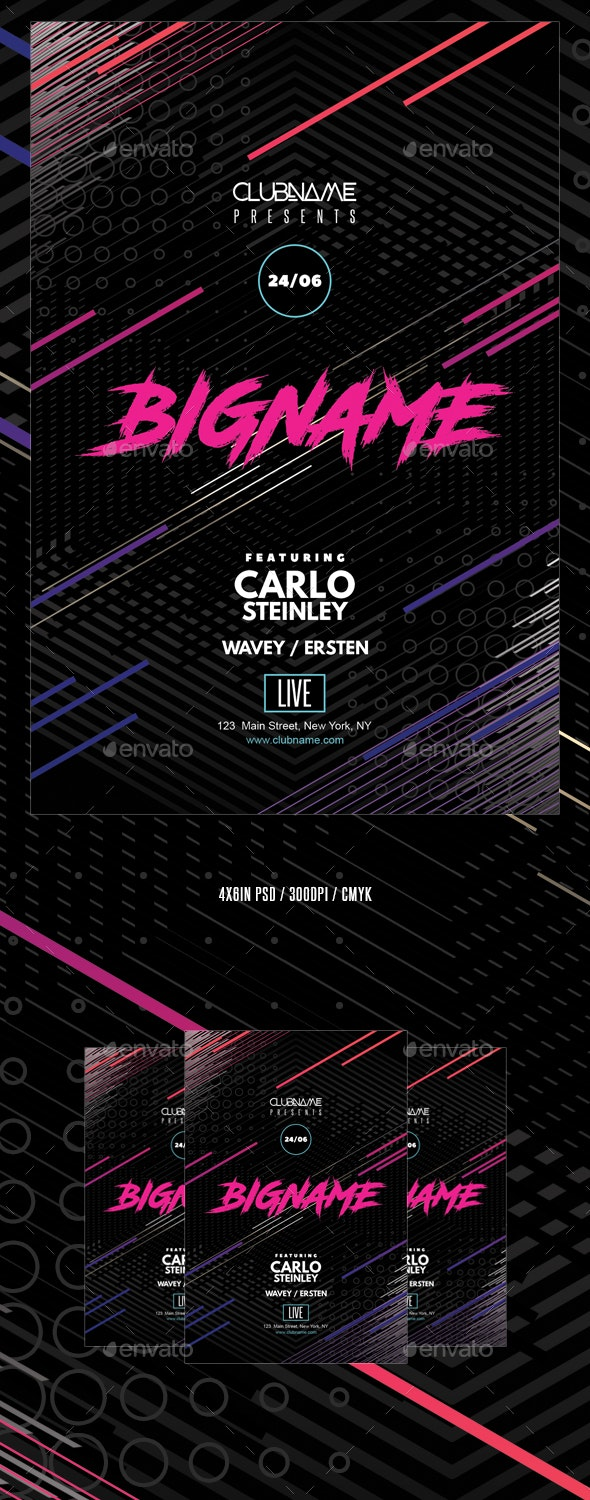 Abstract Geometric Neon Party Flyer Template - Events Flyers