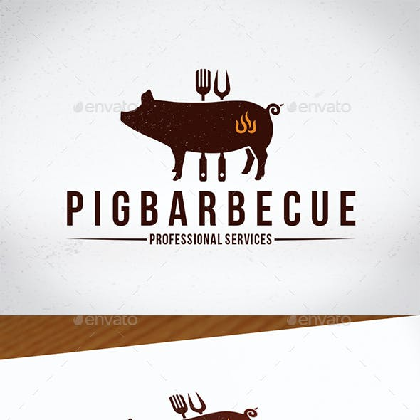 Pig Barbecue Creative Logo