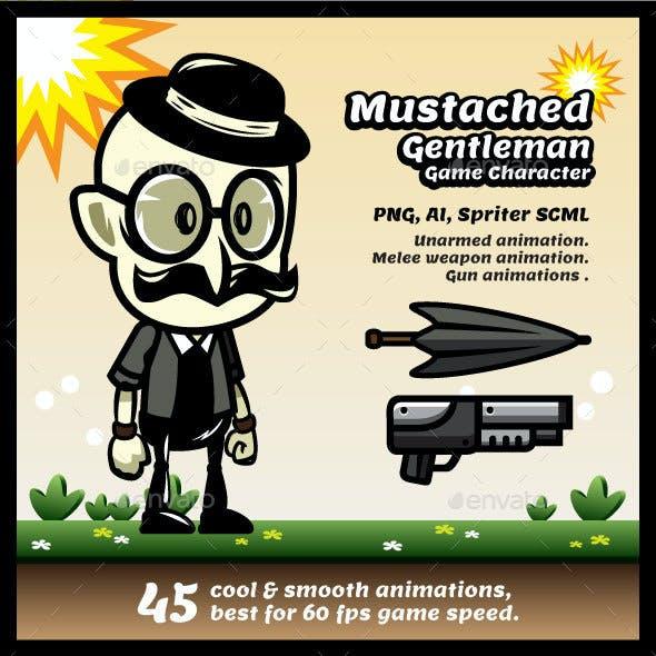 Mustache Gentleman Game Character Sprites