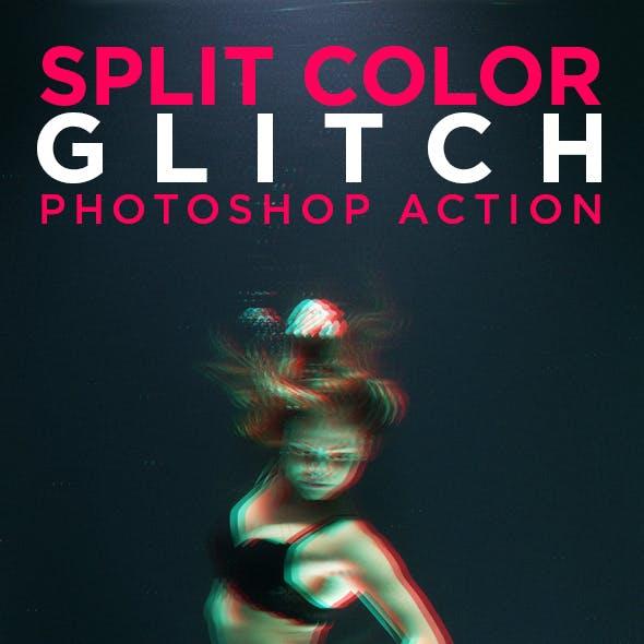 Split Color Glitch Photoshop Action