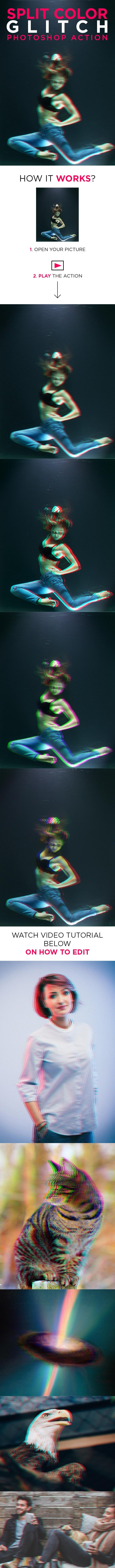 Split Color Glitch Photoshop Action - Photo Effects Actions