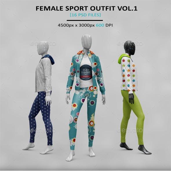 Female Sport Outfit Hoody MockUp Vol1