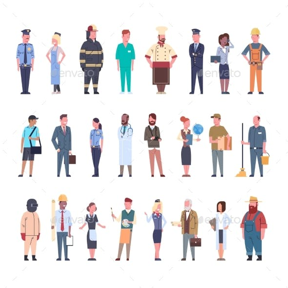 People Group Different Occupation Set Workers
