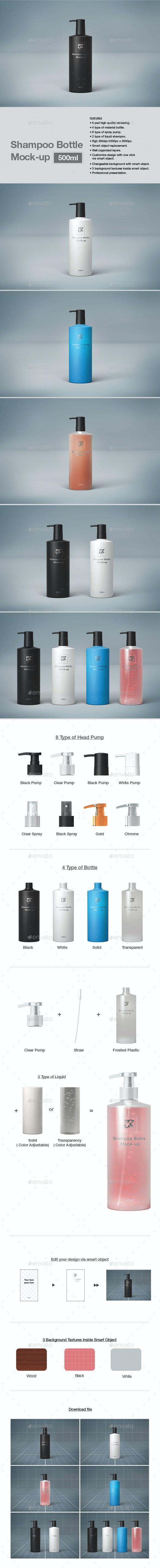 500ml Shampoo Bottle Mock-up - Product Mock-Ups Graphics