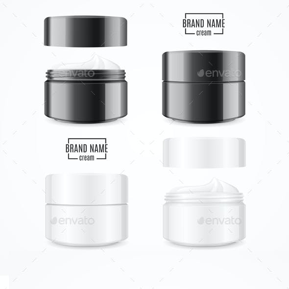 Realistic Cream Can Cosmetic Product Set