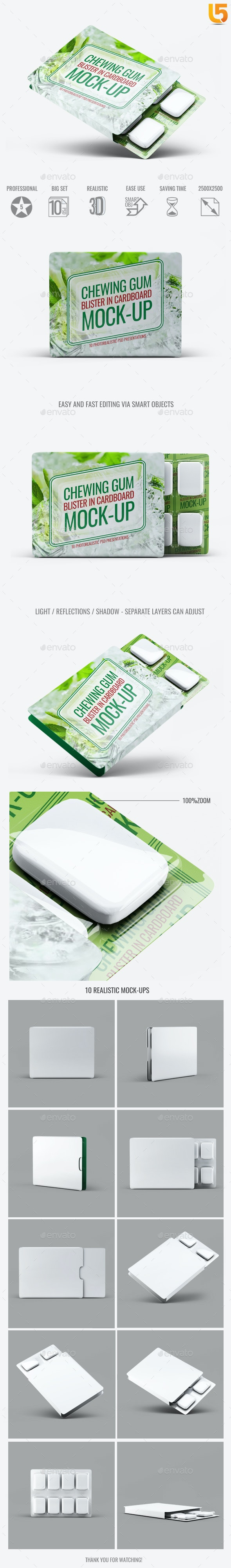 Chewing Gum Blister in Cardboard Mock-Up - Food and Drink Packaging