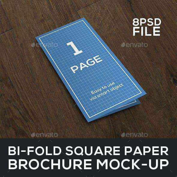 Bi-Fold Square paper Brochure Mock-Up