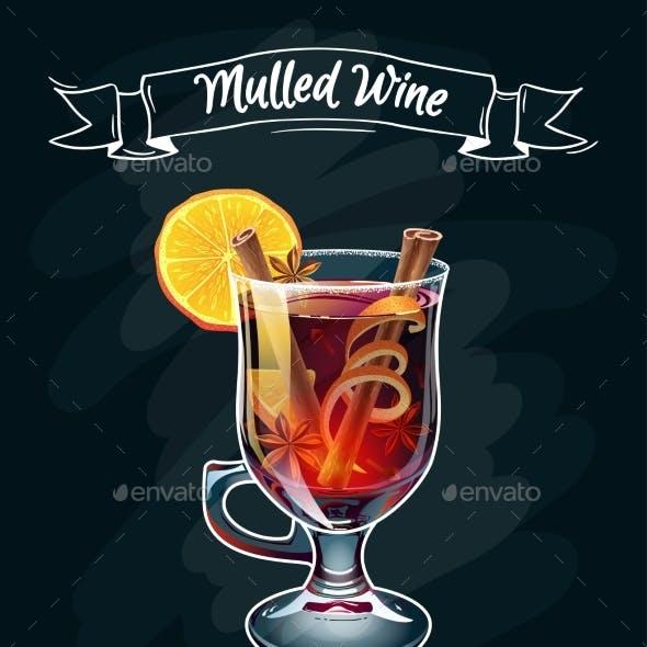 Mulled Wine Illustration. Autumn Drink.