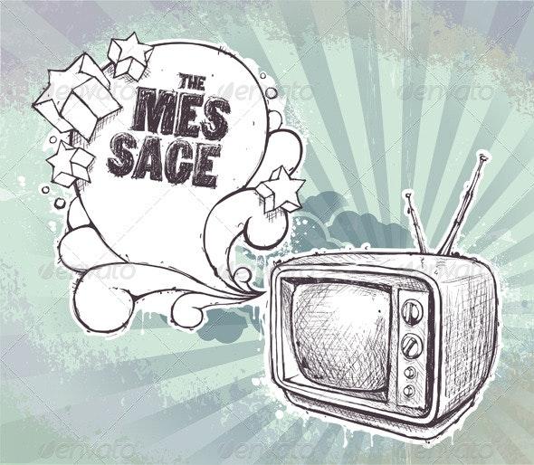Hand-drawn retro TV set - Vectors