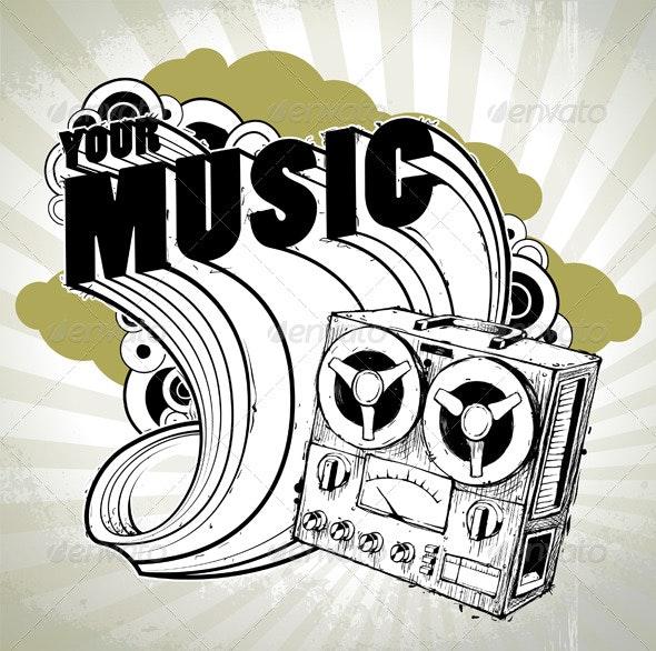 Hand-drawn musical poster - Vectors