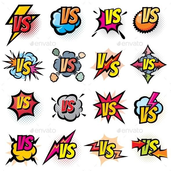Battle Competition Versus Vector Logos Set
