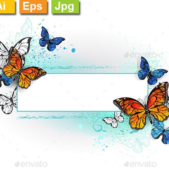 Rectangular Banner with Butterflies Monarchs