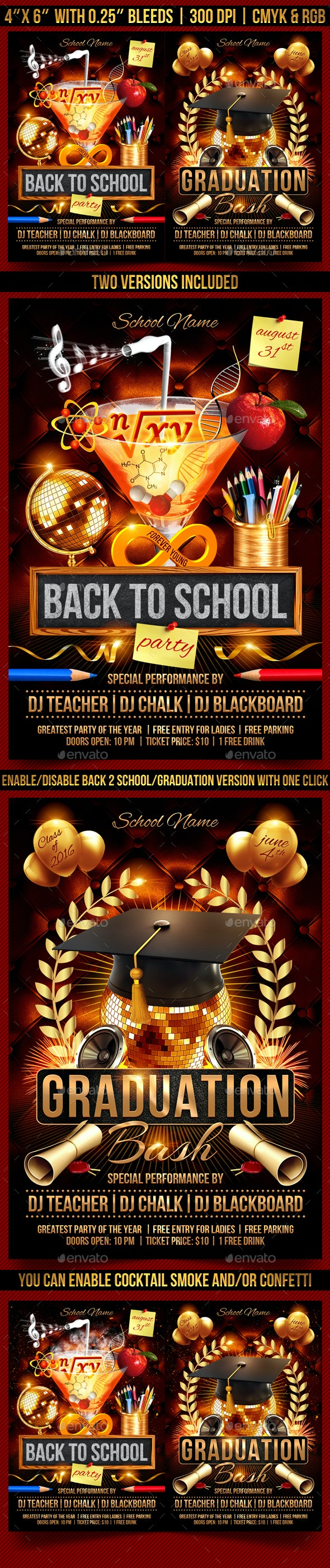 Back to School and Graduation Flyer - Clubs & Parties Events