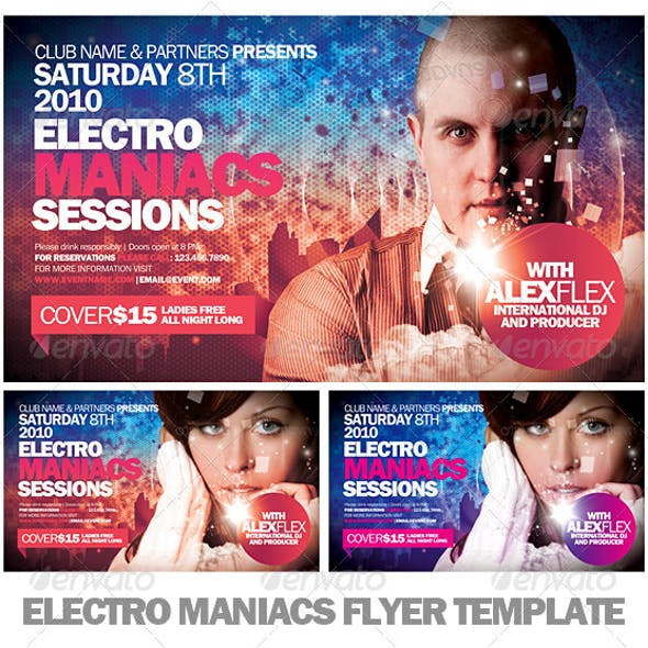 Electro Maniacs Flyer Template