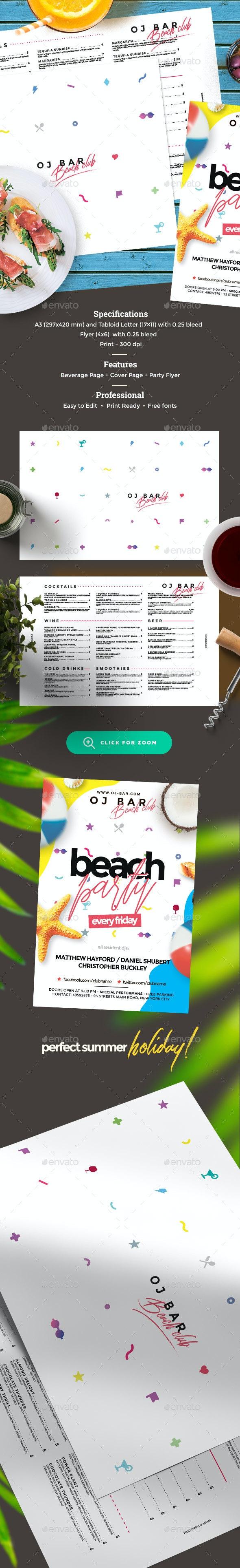 Drinks Menu - Food Menus Print Templates