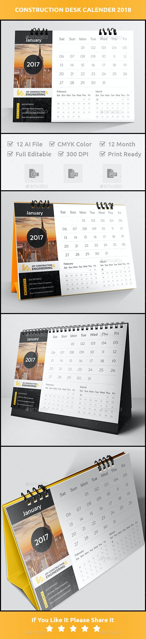 Construction Desk Calender 2018 - Calendars Stationery