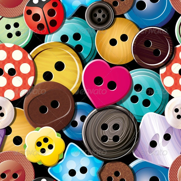 Clothes Buttons Seamless Pattern - Patterns Decorative