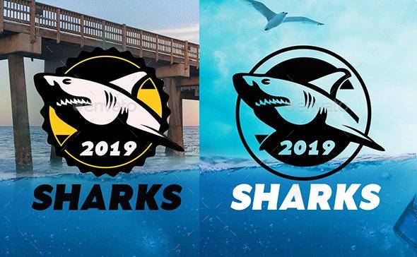 Classic Rounded Edge & Ribbon Edge Shark Logo - Animals Logo Templates