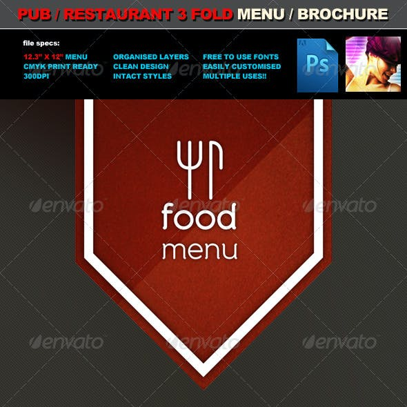 3 Fold Pub Food Menu / Brochure Template
