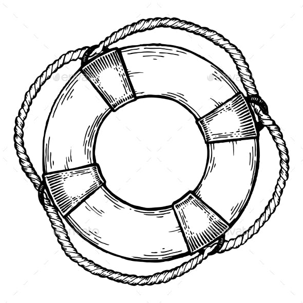 Life Buoy Engraving Style Vector