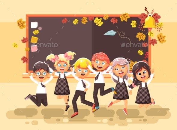 Vector Illustration Back To School Cartoon - People Characters