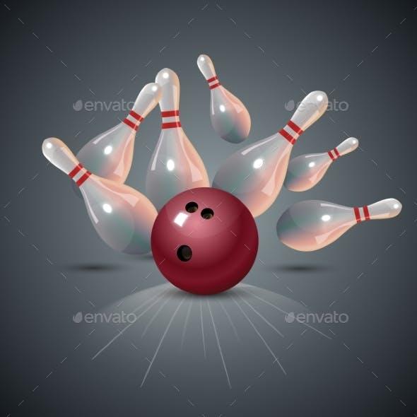 Realistic Bowling Strike Concept on Dark Gray