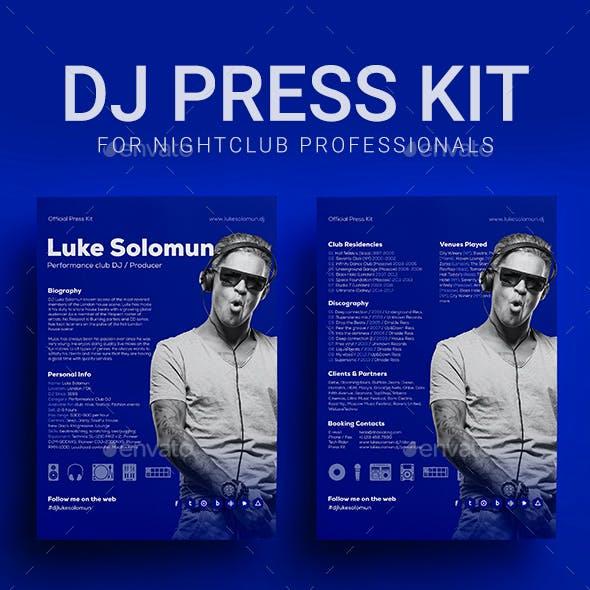 ProDJ - DJ Press Kit / DJ Resume / DJ Rider PSD Template