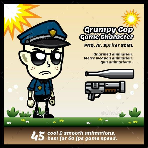 Grumpy Cop Game Character Sprites