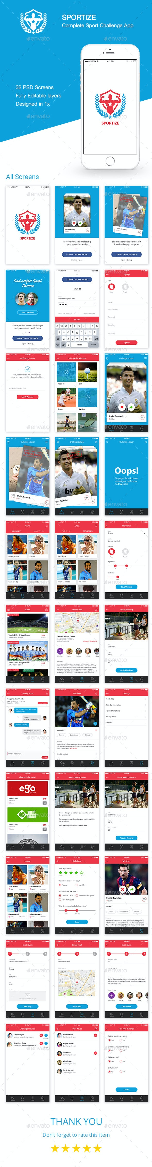 Sportize App UI Kit - User Interfaces Web Elements