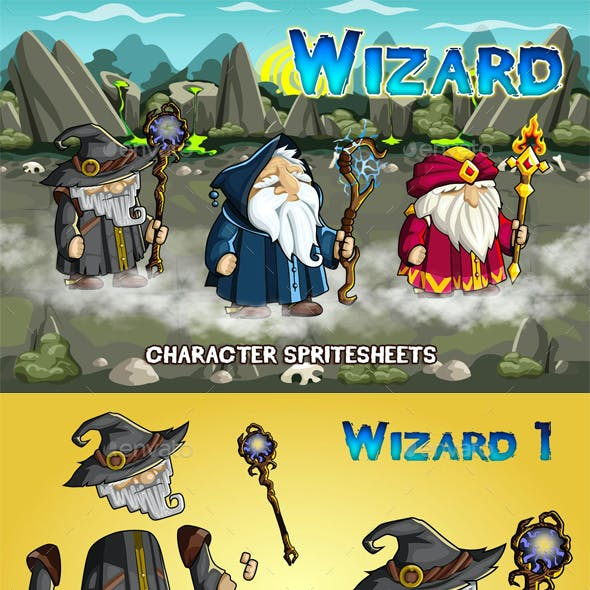 Wizards 2D Game Character Sprite Sheet