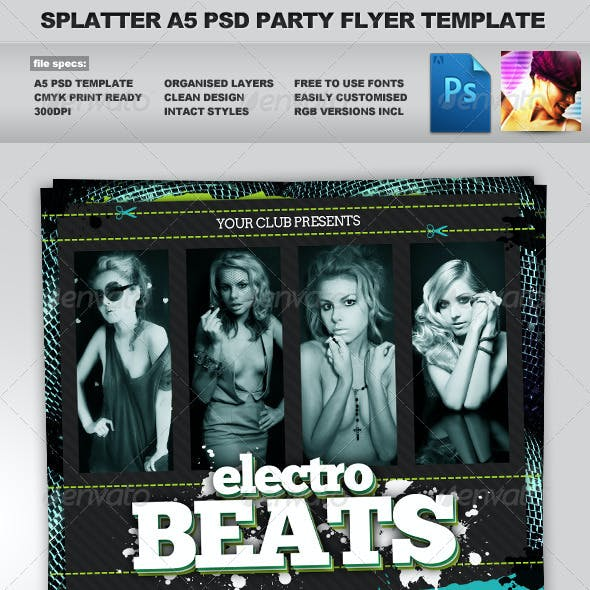 Splatter - 3 Clean Multiuse A5 PSD Flyer Templates