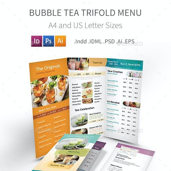 Bubble Tea Cafe Trifold Menu