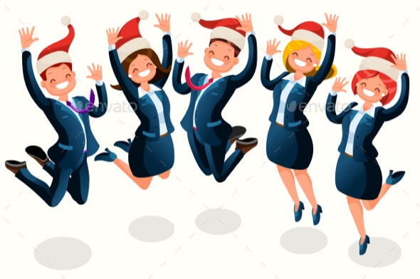 Christmas Party Images Cartoon.Office Christmas Party Isometric People Cartoon
