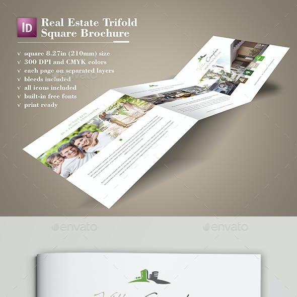 Real Estate Square Trifold Brochure
