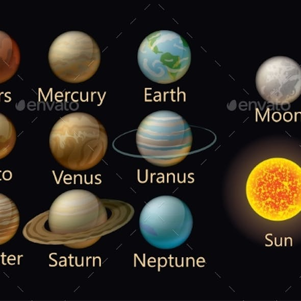 Collection of Vector Planets of the Solar System