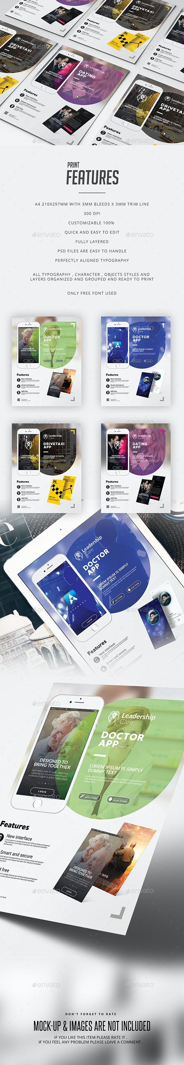 Mobile App Flyer Template - Print Templates