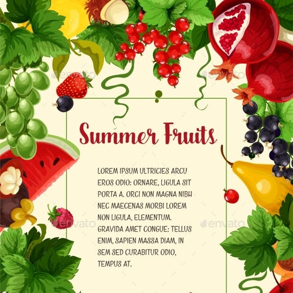 Vector Poster Summer Berries and Tropical Fruits