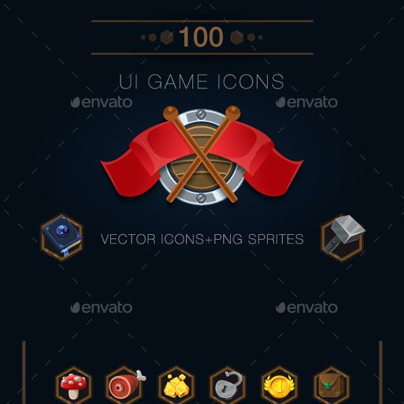 Set of 100 Game Icons