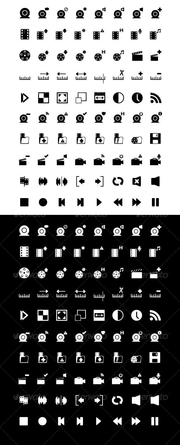 80 Video Editing & Webcam Icons - Black & White - Media Icons