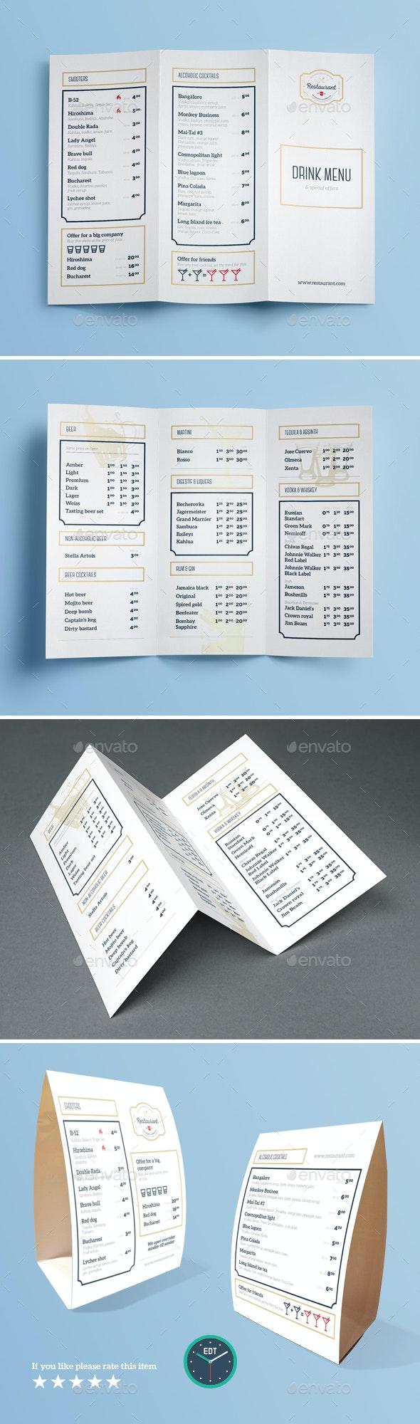 Drink Menu Templates - Food Menus Print Templates