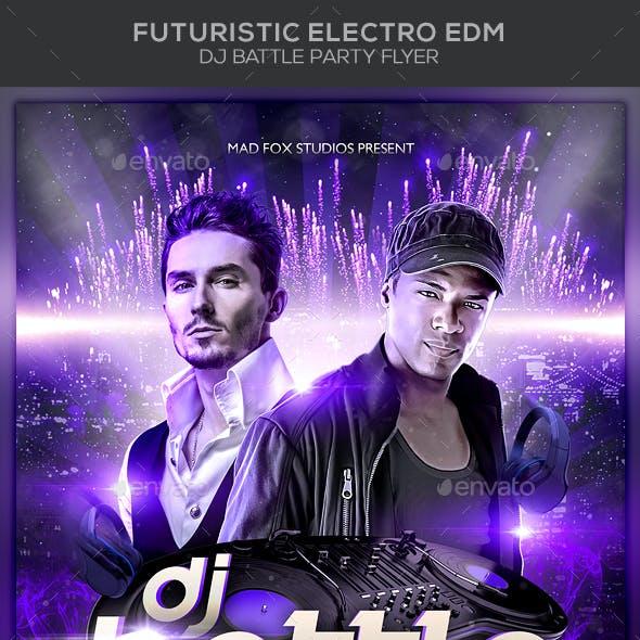 Futuristic Electro EDM Dj Battle Party Flyer