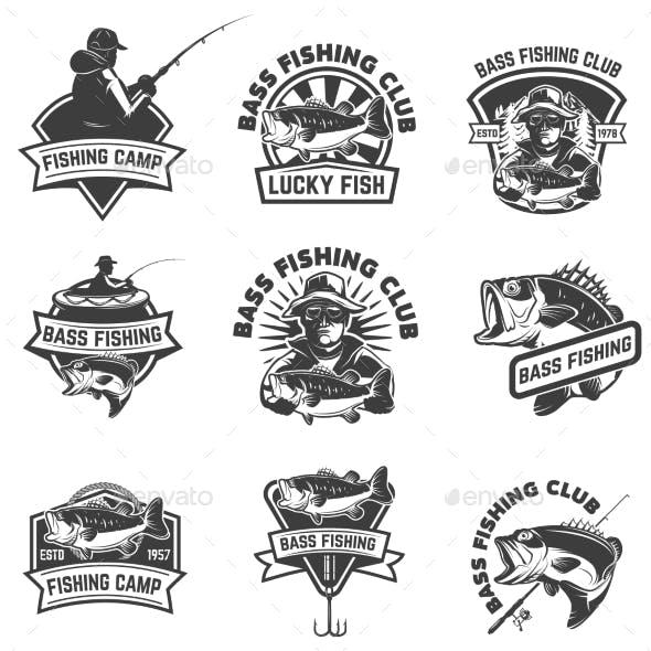 Set of Bass Fishing Emblem